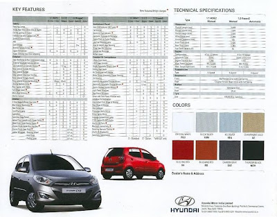 Hyundai's New i10 facelift car Brochure leaked