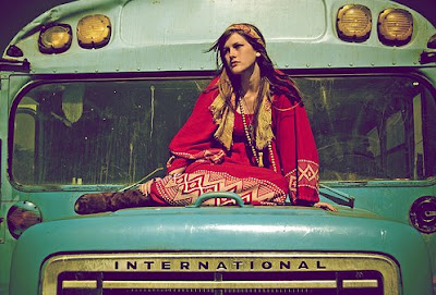 hippie girl on bus