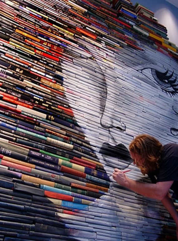 Book Jacket Wall Art : Made from old book covers amazing paintings by mike stilkey