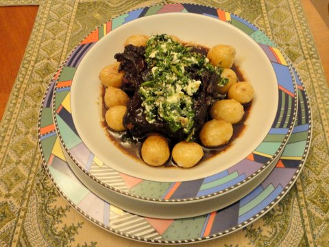 ... Braised Beef Short Ribs with Salsa Verde and Feta
