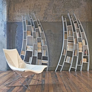curved bookshelves