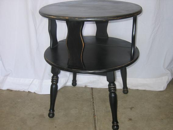 Ordinaire Description: Two Tiered Round Vintage End Table. Freshly Painted Black And