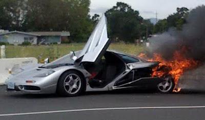 McLaren F1 on fire