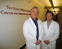 A new study by Rick Wetsel, Ph.D., left and Dachun Wang, M.D., of the University of Texas Health Science Center at Houston, explores the potential use of transplantable lung cells derived from human embryonic stem cells to treat respiratory disease. Credit: The University of Texas Health Science Center at Houston.