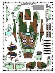 Бумажная авиамодель самолета Spitfire MKIIA