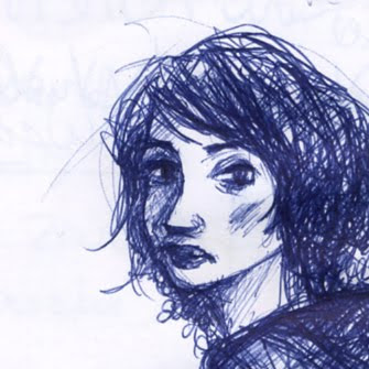 détail de l'illustration fille au stylo bic