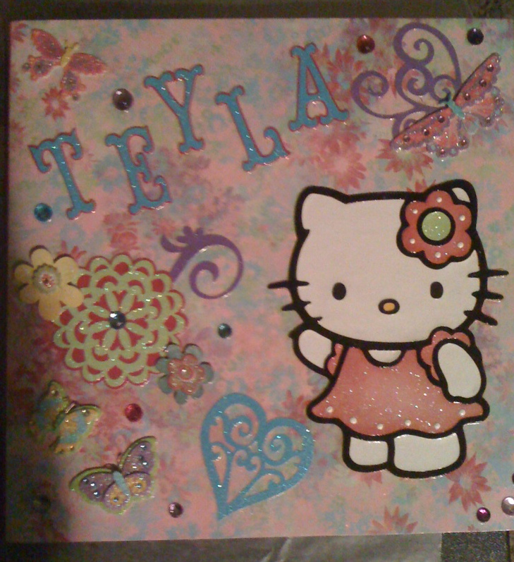 Christas creations hello kitty plaques i made an svg file for hello kitty colored wth copic markers i also used storybook cartridge on the plaques i used wood pieces covered with scrapbook m4hsunfo
