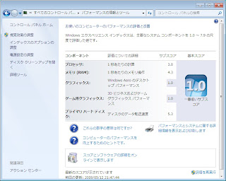 Windows7パフォーマンスと評価