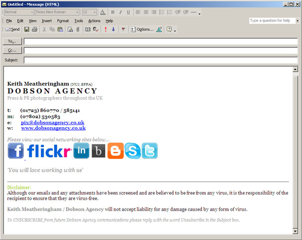 Dobson Agency Photography: Microsoft Outlook Signature Problems