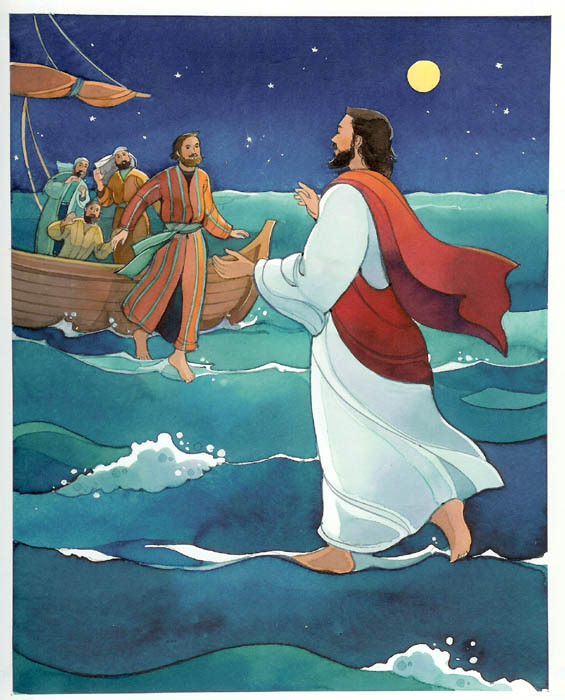 pictures of jesus walking on water. Jesus Christ walking on water Clip art