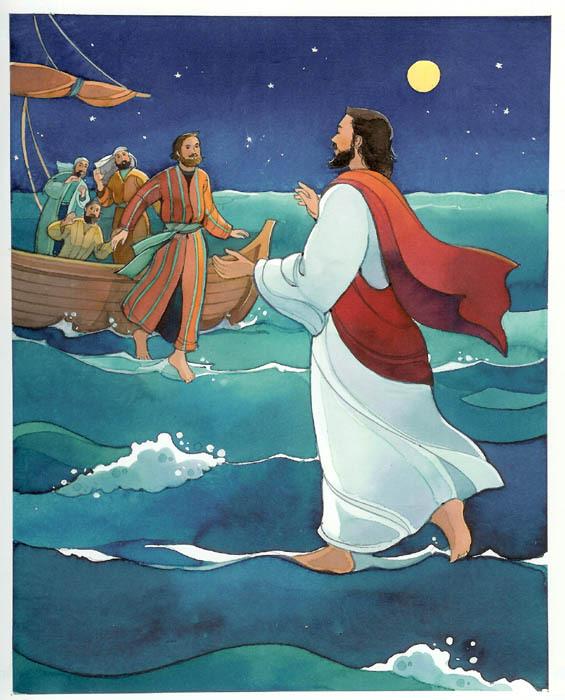 pictures of jesus walking on water. Jesus Christ walking on water Clip art