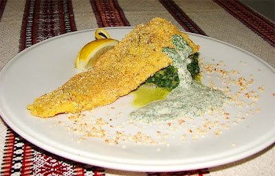 Fish and Spinach from Halych Restaurant (Ternopil City, Western Ukraine