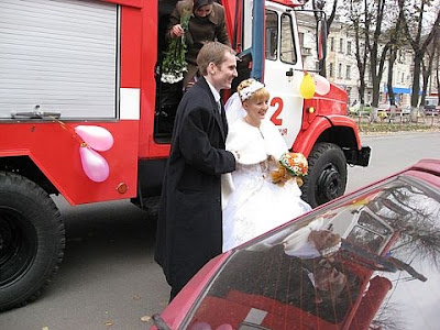 Newlyweds Fire Truck Vinnytsia City Western Ukraine