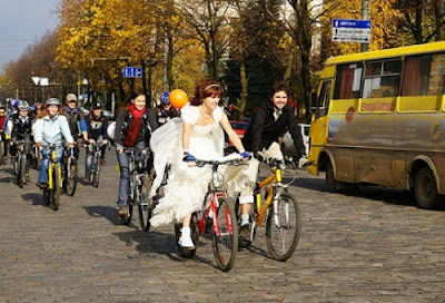 Bride And Groom On Bicycles Wedding In Kharkiv Ukraine