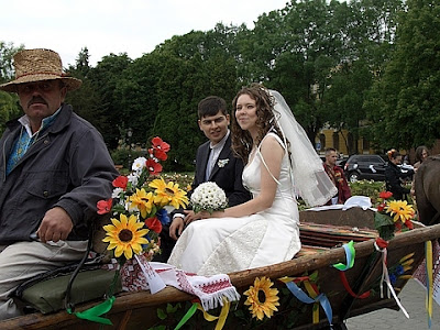Newlyweds On Horse And Buggy Ternopil Ukraine