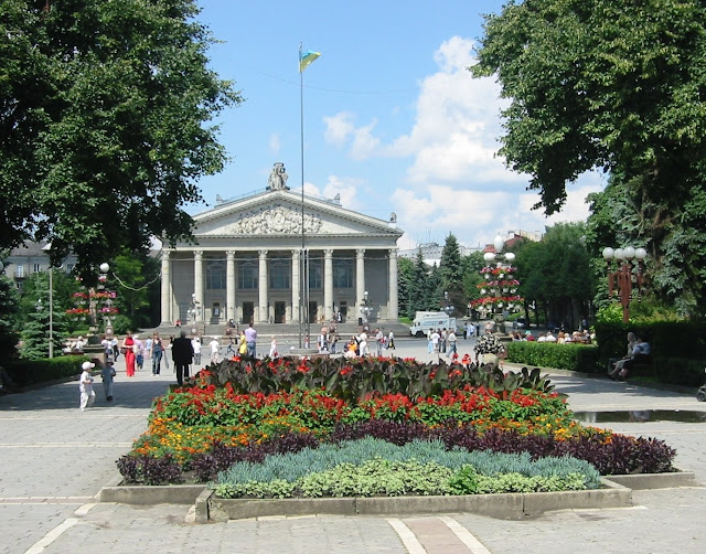 Flowers by the Theatre Ternopil