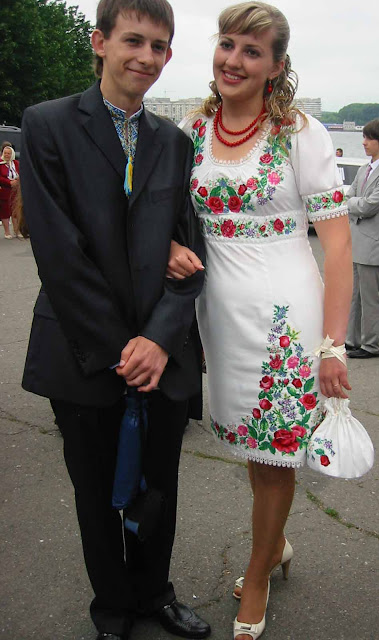 High School Graduation Ternopil Ukraine Girl And Guy In Embroidered Outfits
