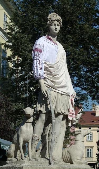 Diana Statue Ukrainian Outfit Lviv Western Ukraine