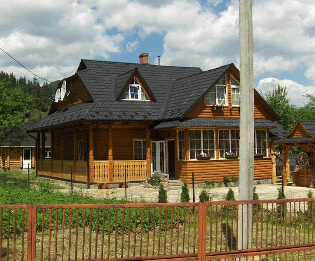 Typical Wooden House Carpathian Mountains Western Ukraine