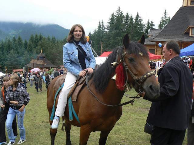Ukrainian Woman Rider Carpathian Mountains