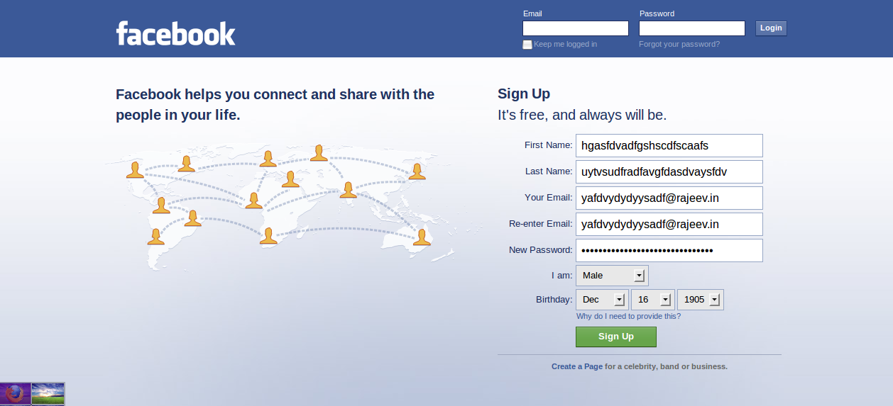 how to make facebook sign up form