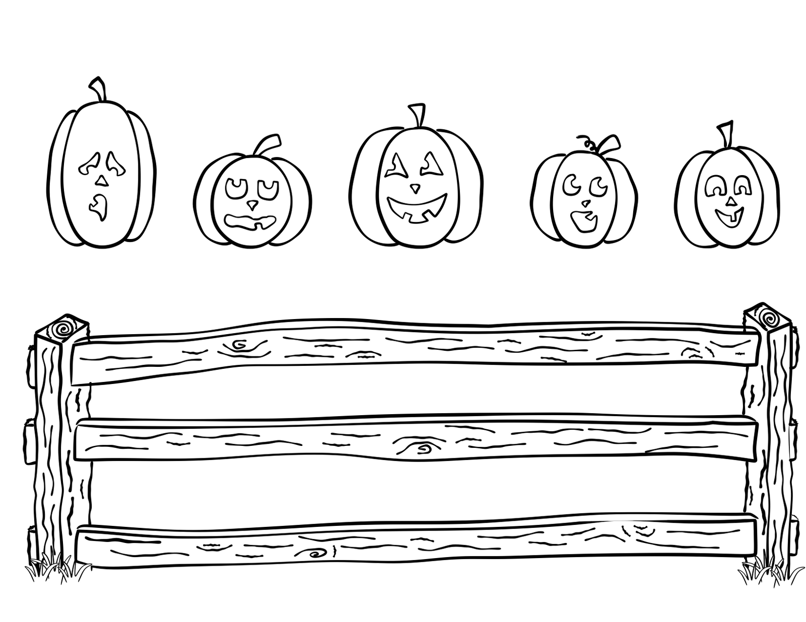 Clean image with five little pumpkins sitting on a gate printable