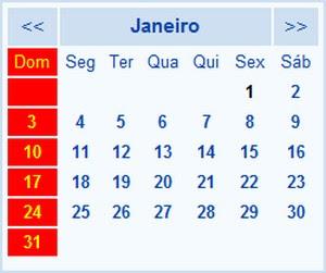 Meses Janeiro, Fevereiro, Março, Abril, Maio, Junho, Julho, Agosto, Setembro, Outubro, Novembro, Dezembro