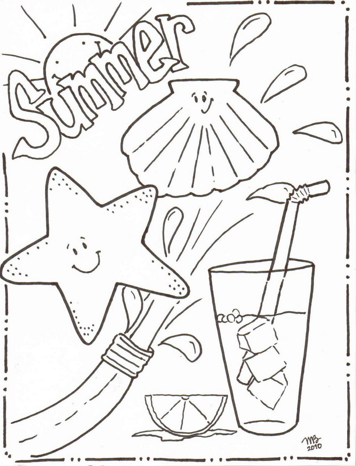Summer coloring pages original mkb designs