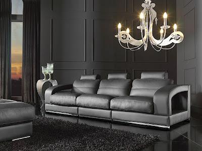 Fotos de salas modernas: Sofás en cuero negro