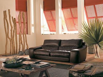 fFotos de salas modernas: Sofás en cuero negro