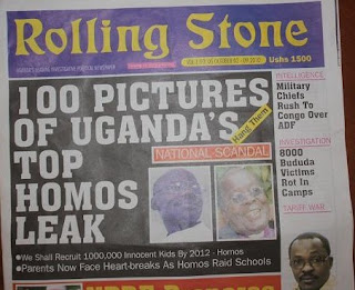 Ugandan newspaper Rolling Stone's cover calling for the killing of gays