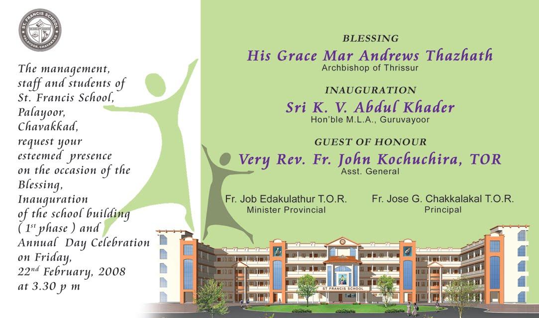 Invitation Card St Francis School Palayoor