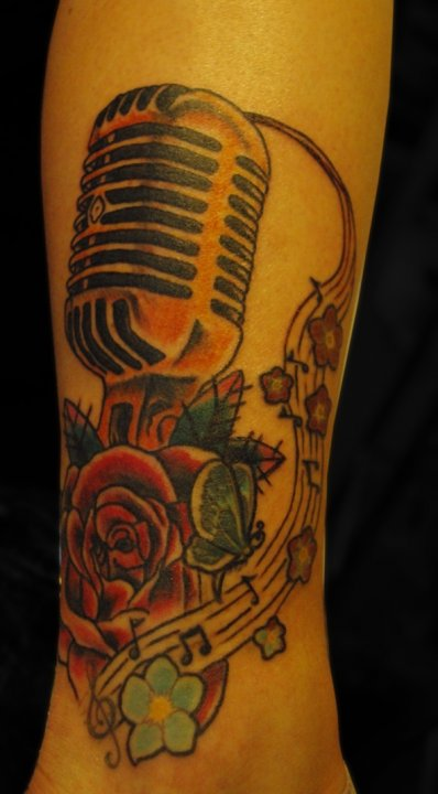 So I added a rose and an old school mic fixed some of the lines and made
