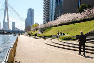 Riverside, along Sumida River, in Tokyo