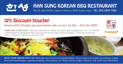 Dine on us – 10% discount off dinner at Han Sung