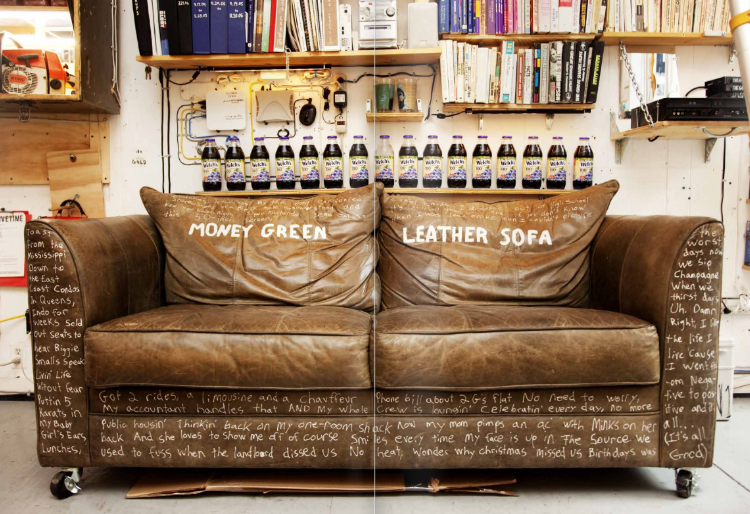Apartment #412: money green leather sofa