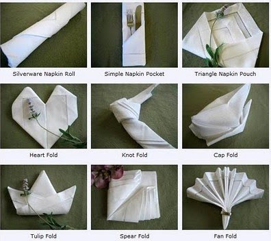 Not sure how to fold your napkins Here as some cool ideas via BumbleBee