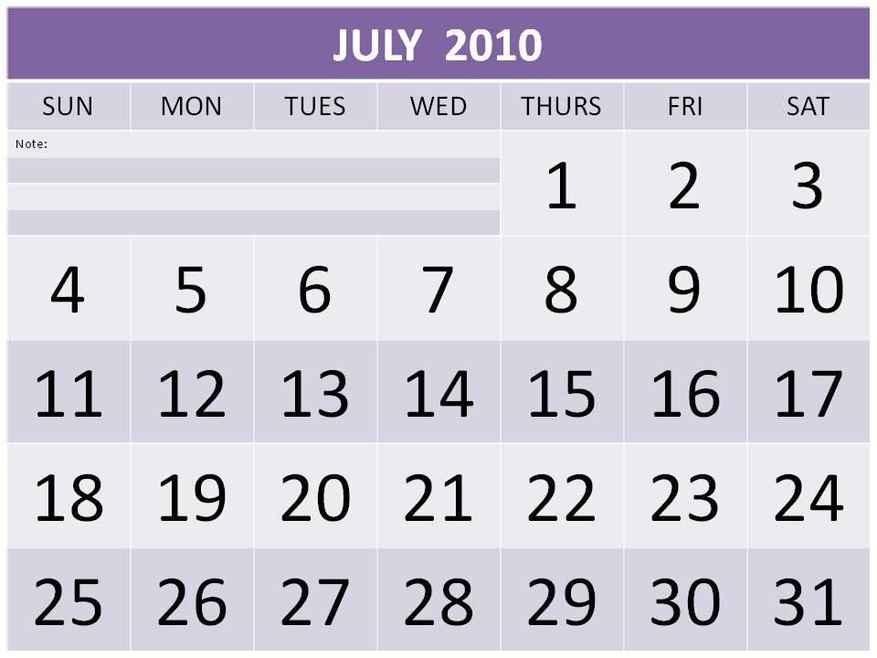 calendar 2010 printable