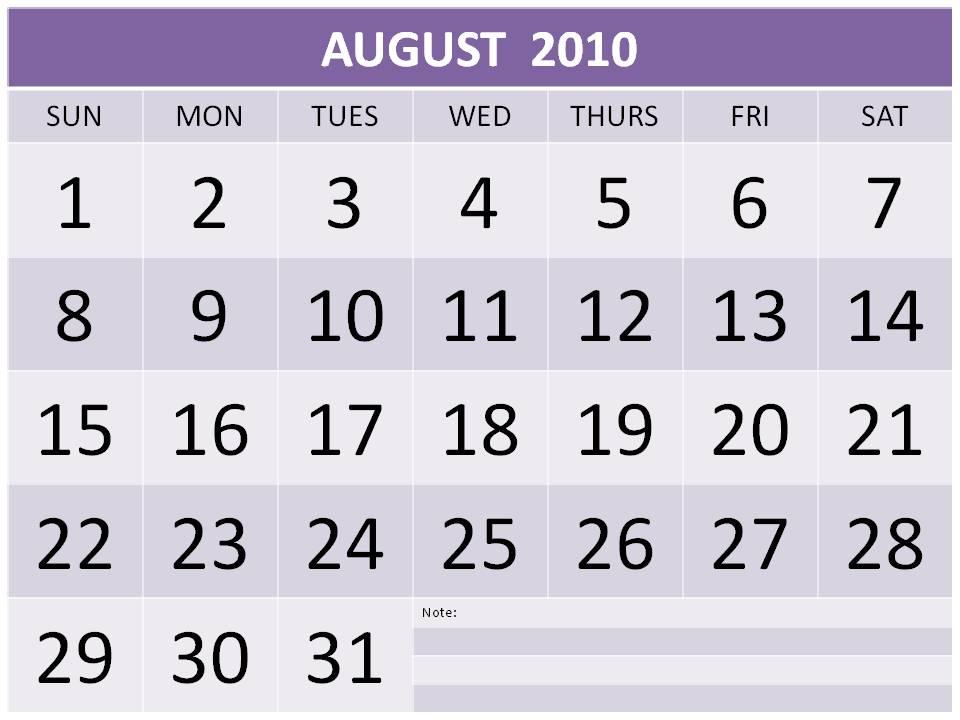 calendar august 2012. Free August 2010 Calendar