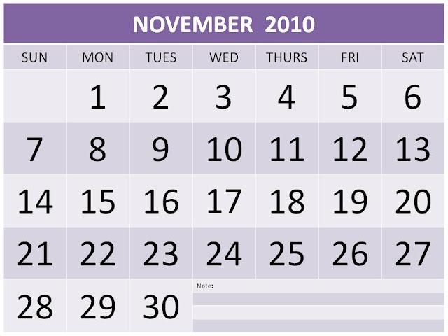 printable november 2010 calendar. Free Printable November 2010