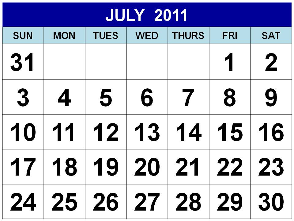 To download and print this Free Monthly Calendar 2011 July :