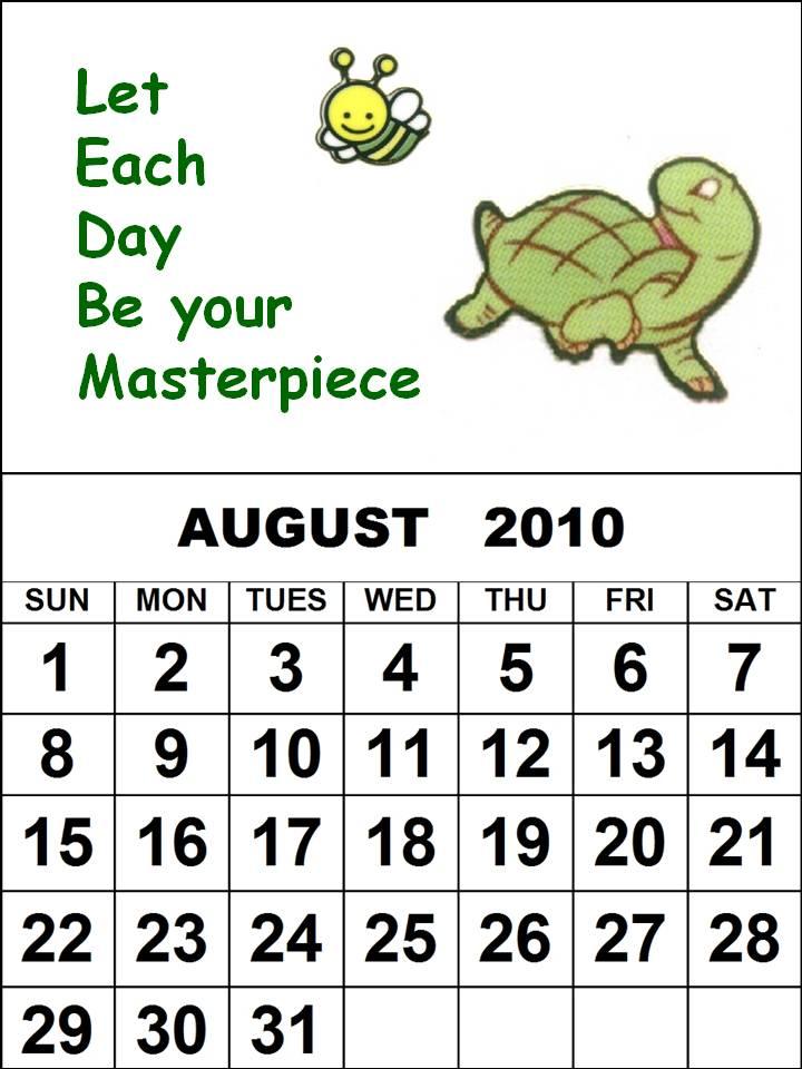 august calendar 2010. Children 2010 Calendar
