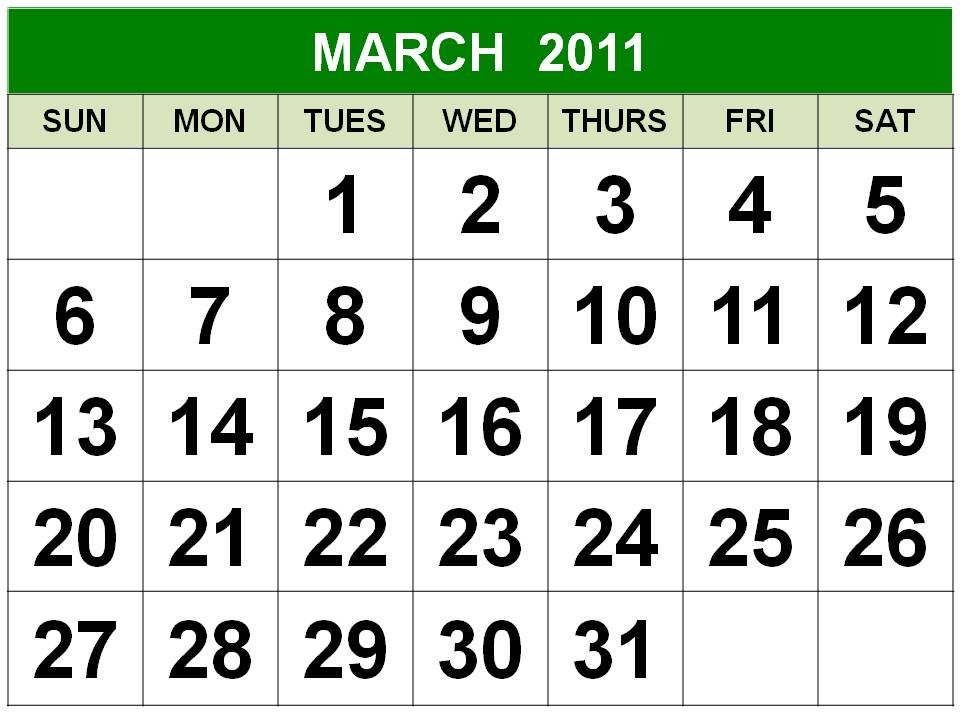 To download and print this Free Monthly Calendar 2011 March:
