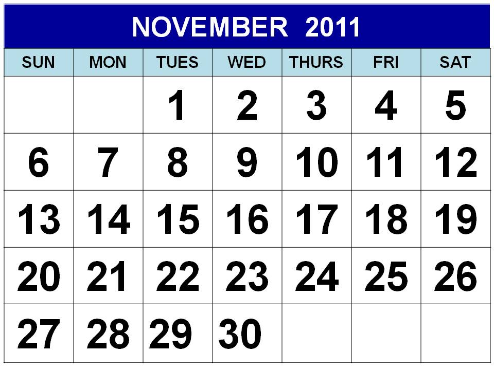 To download and print this Free Monthly Calendar 2011 November :