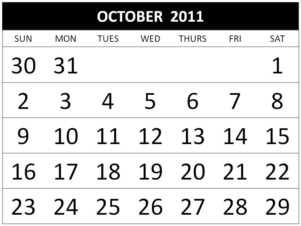 October 2011 Calendar Printable 2011 Calendar Printable uk