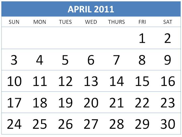 april 2011 calendar. april 2011 calendar printable