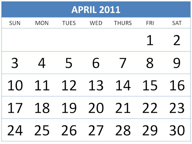 april 2011 calendar printable with holidays. april 2011 calendar printable