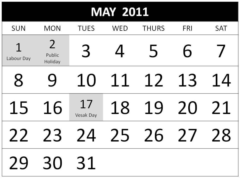Free printable Singapore Calendar May 2011. To download and print this Free