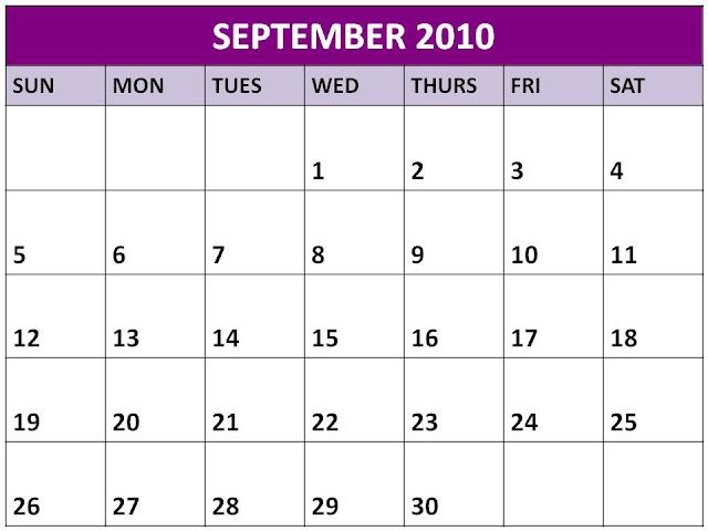 september 2010 calendar. Free Blank September 2010