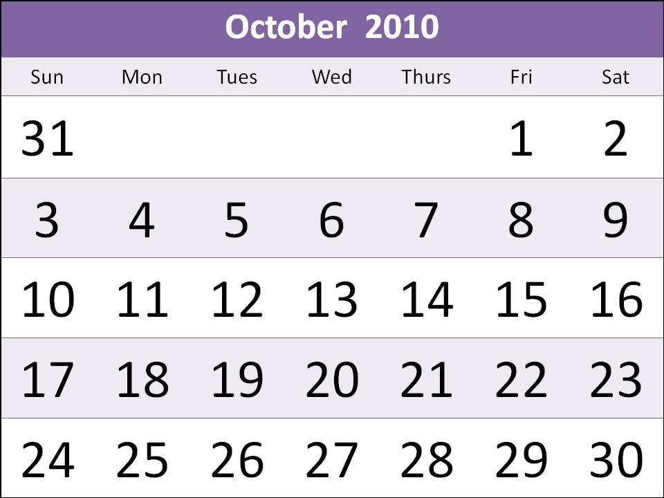 2010 october calendar. Free Singapore 2010 October